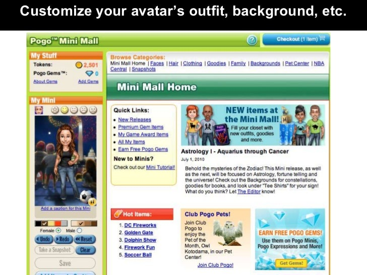 Customize your avatar's outfit, background, etc.