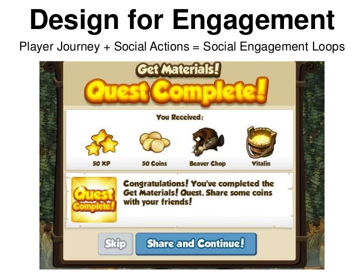 Design for EngagementPlayer Journey + Social Actions = Social Engagement Loops