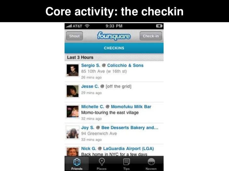 Core activity: the checkin