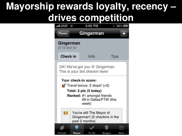 Mayorship rewards loyalty, recency –        drives competition