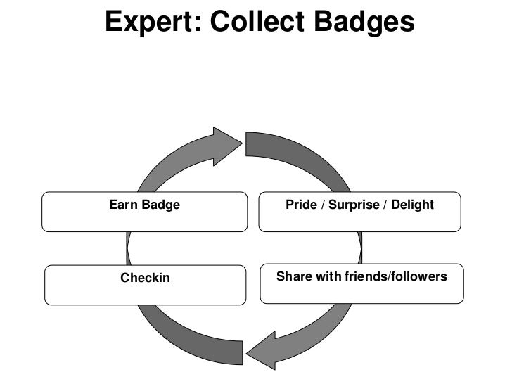 Expert: Collect BadgesEarn Badge    Pride / Surprise / Delight Checkin     Share with friends/followers
