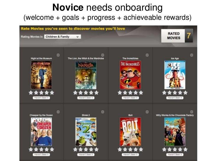 Novice needs onboarding(welcome + goals + progress + achieveable rewards)