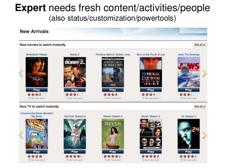 Expert needs fresh content/activities/people       (also status/customization/powertools)
