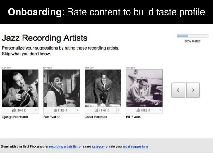 Onboarding: Rate content to build taste profile