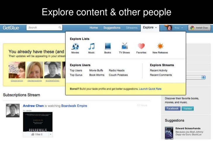 Explore content & other people