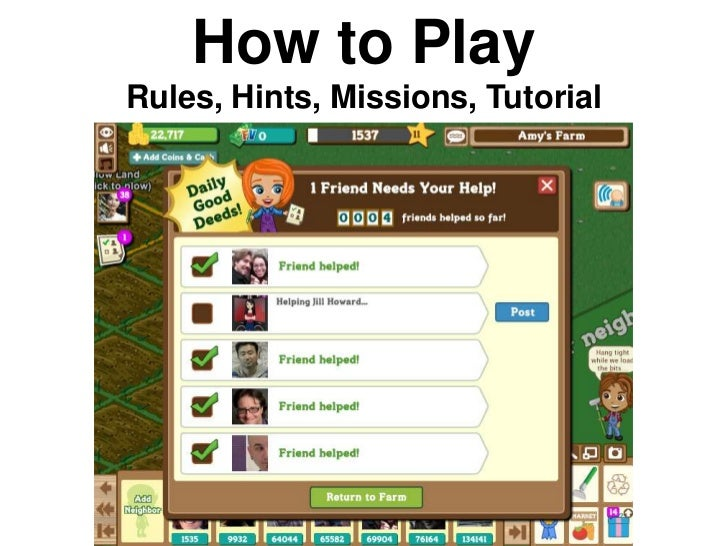 How to PlayRules, Hints, Missions, Tutorial