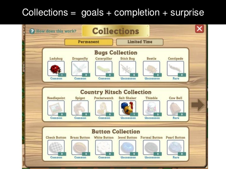 Collections = goals + completion + surprise