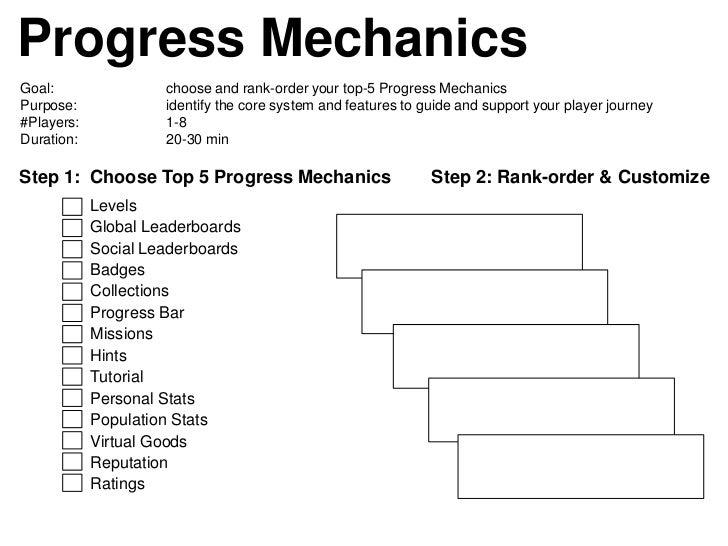 Progress MechanicsGoal:                choose and rank-order your top-5 Progress MechanicsPurpose:             identify th...