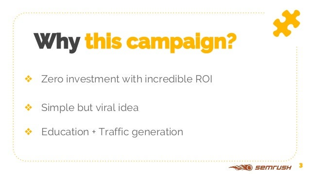 ❖ Zero investment with incredible ROI Why this campaign? ❖ Simple but viral idea ❖ Education + Traffic generation 3