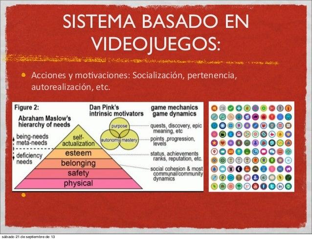 SISTEMA BASADO EN VIDEOJUEGOS: Acciones  y  mo:vaciones:  Socialización,  pertenencia,   autorealización,  etc...