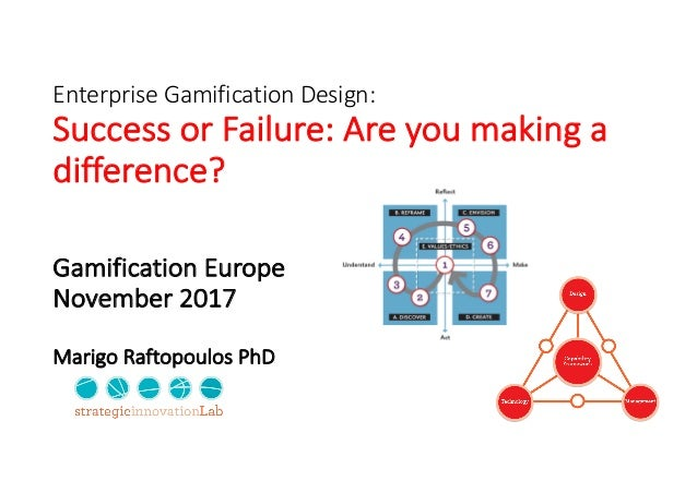 Enterprise	Gamification	Design:	 Success	or	Failure:	Are	you	making	a	 difference? Gamification	Europe November	2017 Marig...