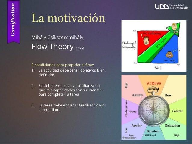 La motivación Mihály Csíkszentmihályi Flow Theory (1975) 3 condiciones para propiciar el flow: 1. La actividad debe tener ...