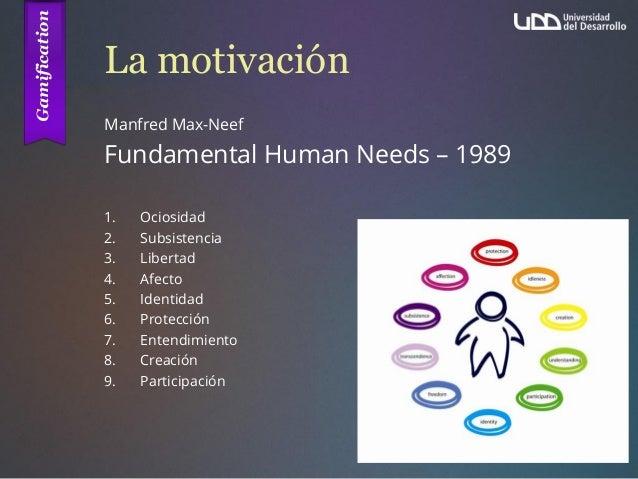La motivación Manfred Max-Neef Fundamental Human Needs – 1989 1. Ociosidad 2. Subsistencia 3. Libertad 4. Afecto 5. Identi...