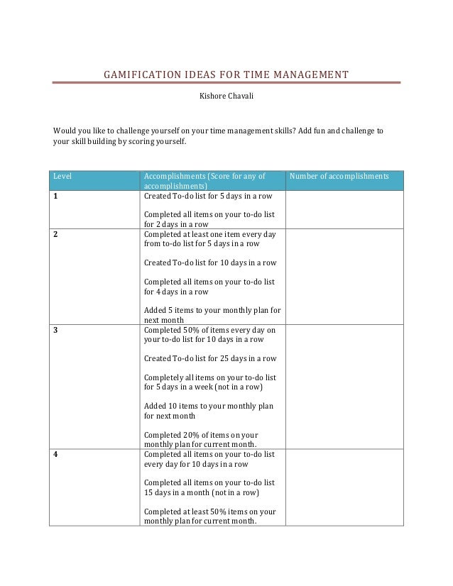 GAMIFICATION IDEAS FOR TIME MANAGEMENT                                         Kishore ChavaliWould you like to challenge ...