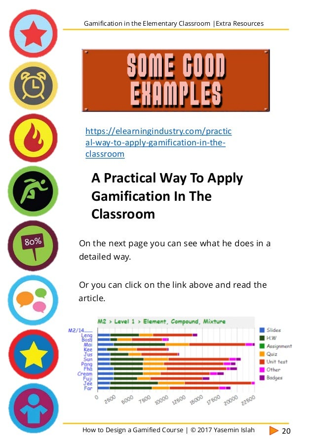 How to Design a Gamified Course | © 2017 Yasemin Islah 21 Gamification in the Elementary Classroom |Extra Resources Here a...