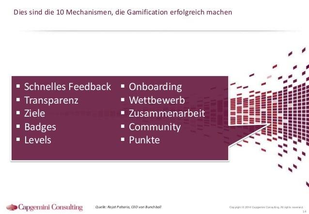 Dies sind die 10 Mechanismen, die Gamification erfolgreich machen        Schnelles Feedback Transparenz Ziele Badges ...