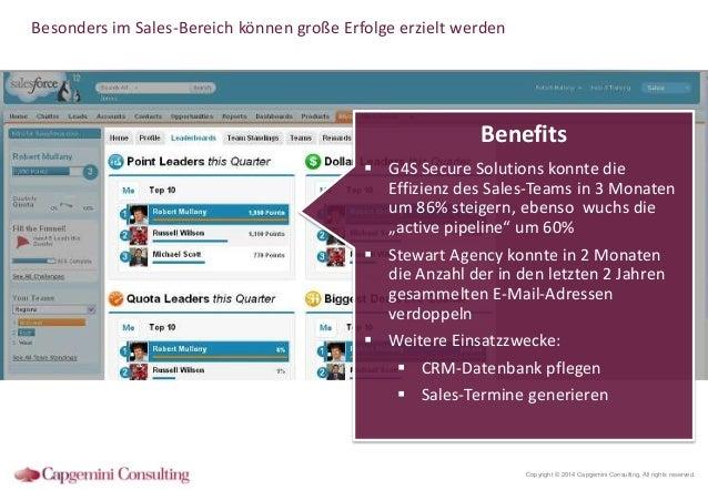 Besonders im Sales-Bereich können große Erfolge erzielt werden  Benefits  G4S Secure Solutions konnte die Effizienz des S...