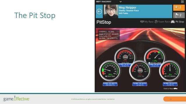 The Pit Stop  © 2014 GamEffective. all rights reserved to BizEffective. Confidential 16