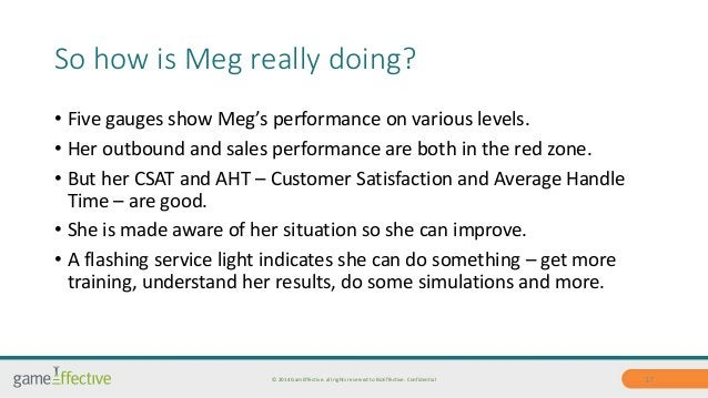 So how is Meg really doing?  • Five gauges show Meg's performance on various levels.  • Her outbound and sales performance...