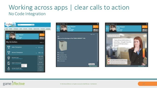 Working across apps | clear calls to action  No Code Integration  © 2014 GamEffective. all rights reserved to BizEffective...