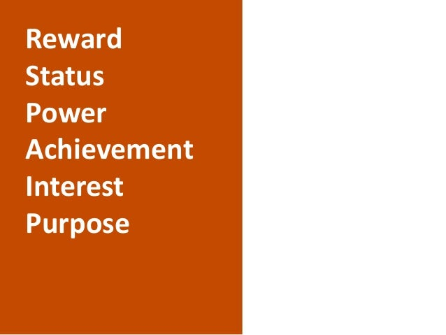 Reward Status Power Achievement Interest Purpose