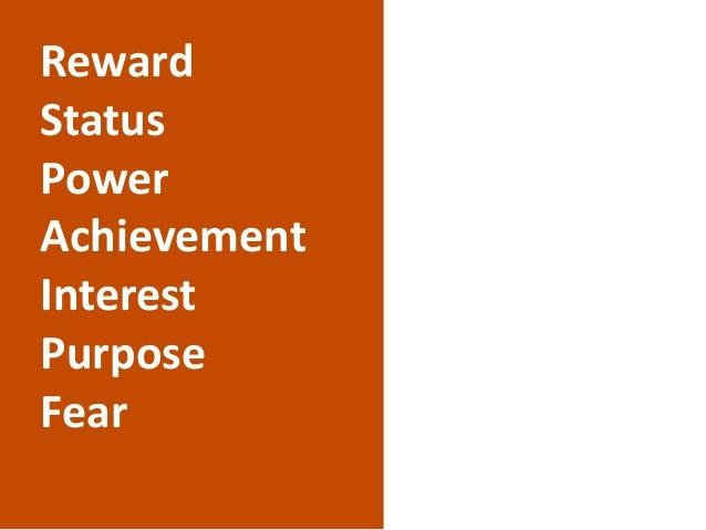 Reward Status Power Achievement Interest Purpose Fear
