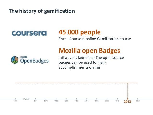 The history of gamification 45 000 people Enroll Coursera online Gamification course Mozilla open Badges Initiative is lau...