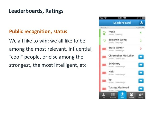Leaderboards, Ratings Public recognition, status We all like to win: we all like to be among the most relevant, influentia...