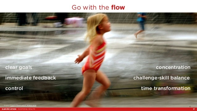 Go with the flow  concentration  challenge-skill balance  clear goals  immediate feedback  control  time transformation  S...