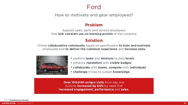 Ford  How to motivate and gear employees?  Source: Bunchball.com, June 2013  Problem  Support sales, parts and service emp...