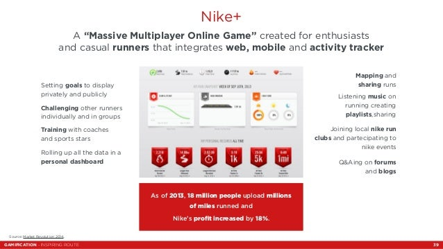 """Nike+  A """"Massive Multiplayer Online Game"""" created for enthusiasts  and casual runners that integrates web, mobile and act..."""