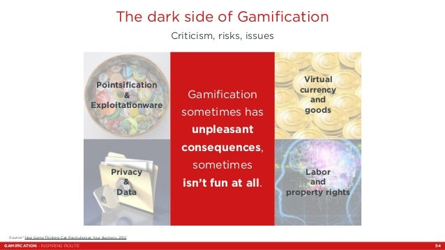 The dark side of Gamification  Criticism, risks, issues  Virtual  currency  and  goods  Labor  and  property rights  Gamif...