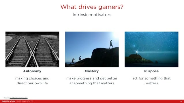 What drives gamers?  Intrinsic motivators  Mastery  make progress and get better  at something that matters  Autonomy  mak...