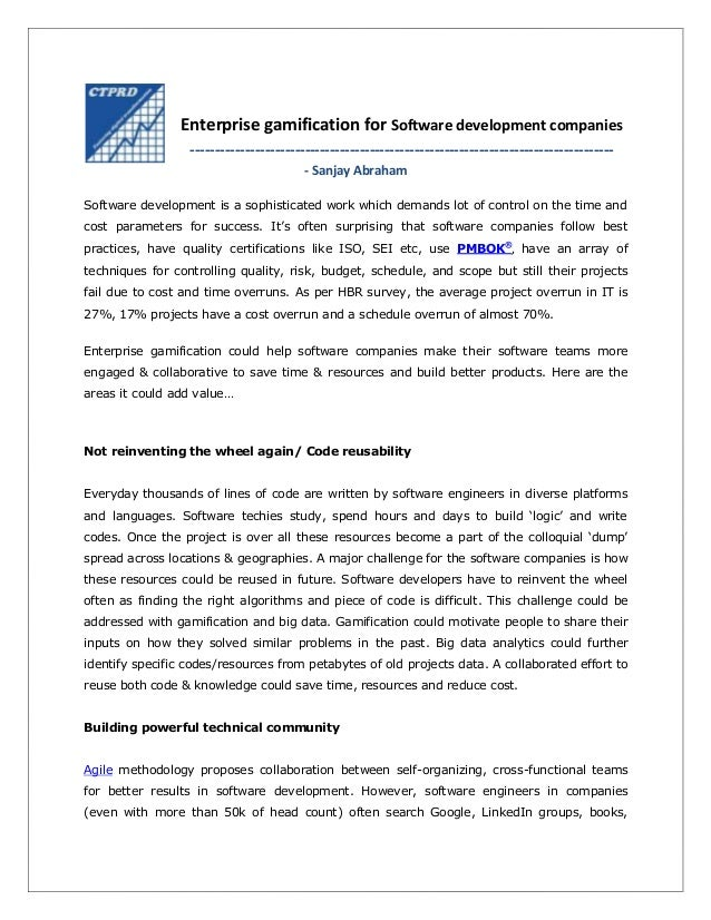 Enterprise gamification for Software development companies ---------------------------------------------------------------...