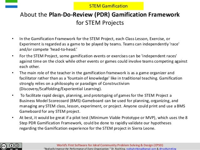 Facilitating Stem Gamification Business Model Gamification Projects