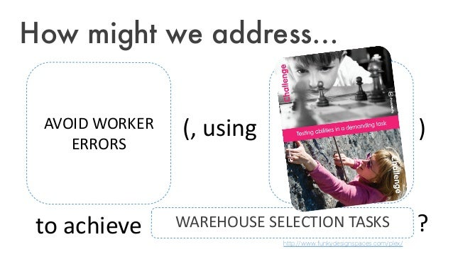 How might we address… AVOID WORKER ERRORS Put fitting design lens/category here WAREHOUSE SELECTION TASKS (, using ) to ac...