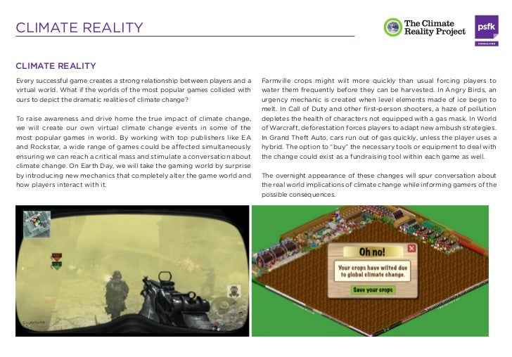 CLIMATE REALITYCLIMATE REALITYEvery successful game creates a strong relationship between players and a   Farmville crops ...