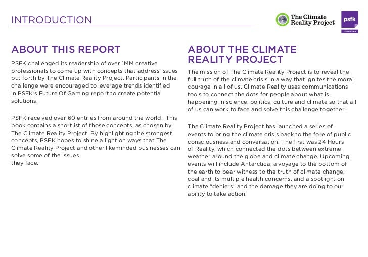 INTRODUCTIONABOUT THIS REPORT                                               ABOUT THE CLIMATEPSFK challenged its readershi...
