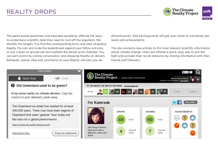 REALITY DROPSThe game builds awareness and educates people by offering the easy-                                          ...
