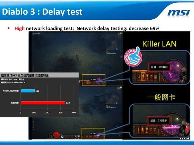 • High network loading test: Network delay testing: decrease 69%Diablo 3 : Delay test