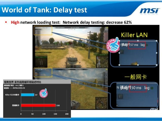 • High network loading test: Network delay testing: decrease 62%World of Tank: Delay test