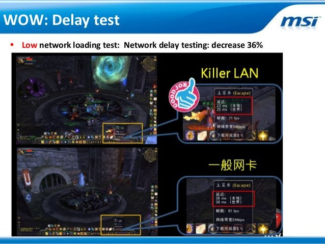 • Low network loading test: Network delay testing: decrease 36%WOW: Delay test