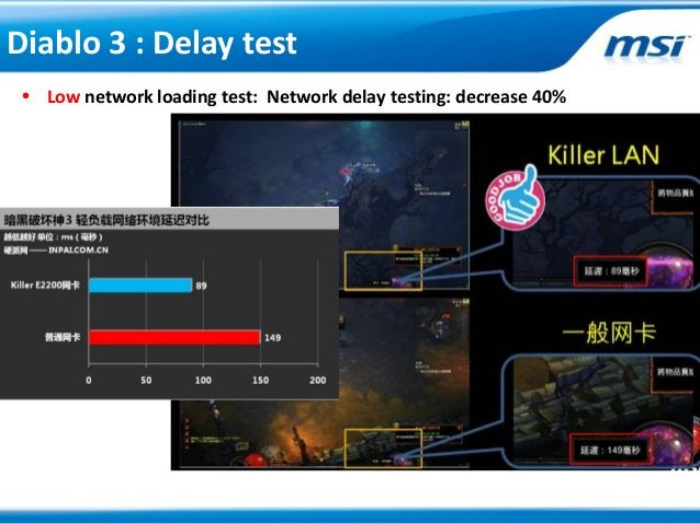 • Low network loading test: Network delay testing: decrease 40%Diablo 3 : Delay test