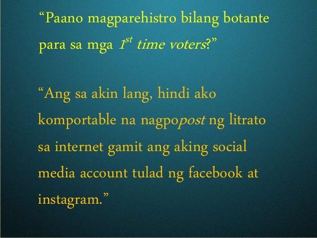 """""""Paano magparehistro bilang botante para sa mga 1st time voters?"""" """"Ang sa akin lang, hindi ako komportable na nagpopost ng..."""