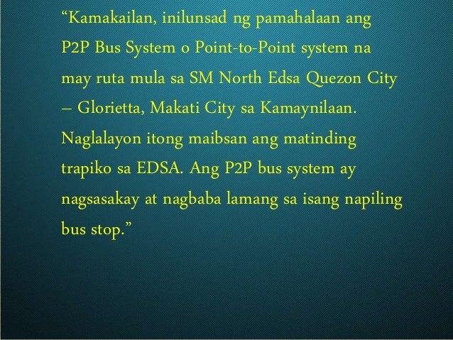"""""""Kamakailan, inilunsad ng pamahalaan ang P2P Bus System o Point-to-Point system na may ruta mula sa SM North Edsa Quezon C..."""