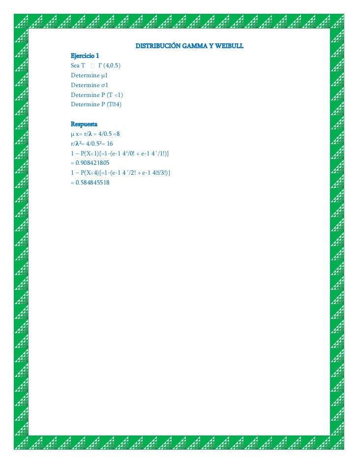 DISTRIBUCIÓN GAMMA Y WEIBULLEjercicio 1Sea T       Г (4,0.5)Determine μ1Determine σ1Determine P (T <1)Determine P (T˃4)Res...