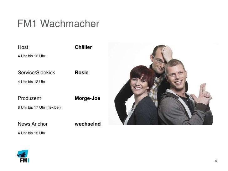 FM1 WachmacherHost                          Chäller4 Uhr bis 12 UhrService/Sidekick              Rosie4 Uhr bis 12 UhrProd...