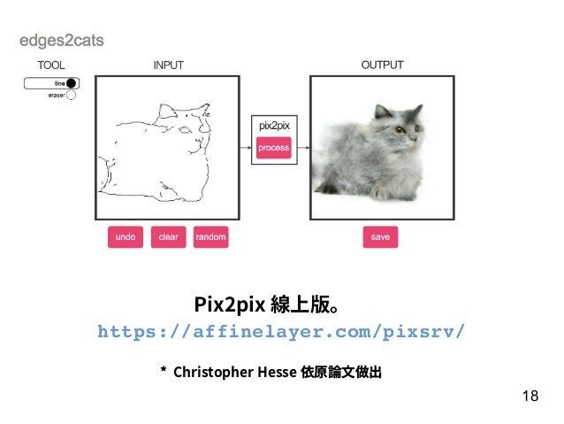 18 * Christopher Hesse 依原論⽂做出 Pix2pix 線上版。 https://affinelayer.com/pixsrv/