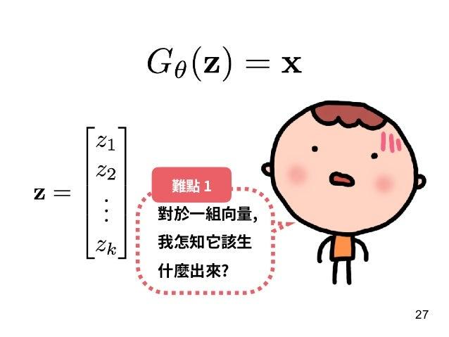 27 對於⼀組向量, 我怎知它該⽣ 什麼出來? 難點 1