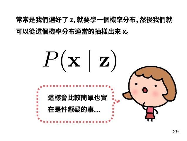 29 常常是我們選好了 z, 就要學⼀個機率分布, 然後我們就 可以從這個機率分布適當的抽樣出來 x。 這樣會⽐較簡單也實 在是件懸疑的事...